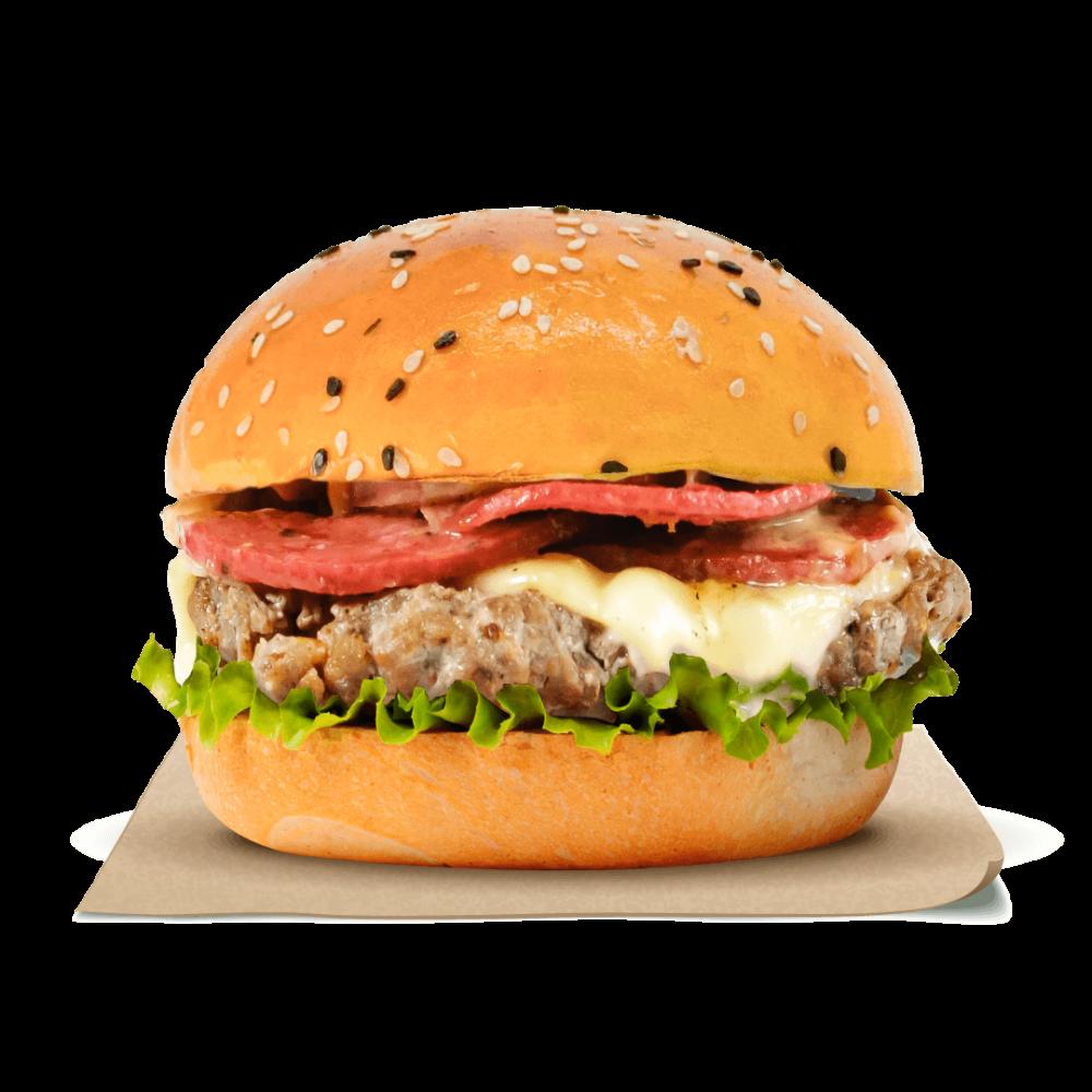 Chicken & Beef Pepperoni Cheese Blast Burger